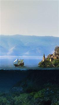 Ancient ocean water mountain iPhone se wallpaper