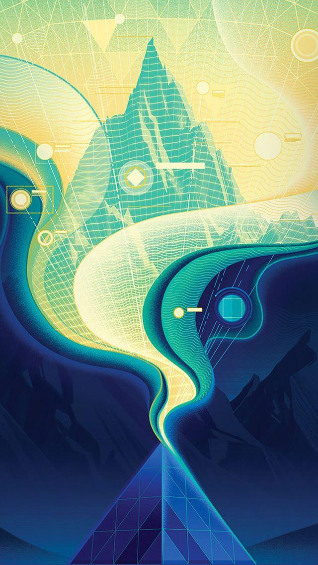 Digital abstract road blue illustration art iPhone se wallpaper