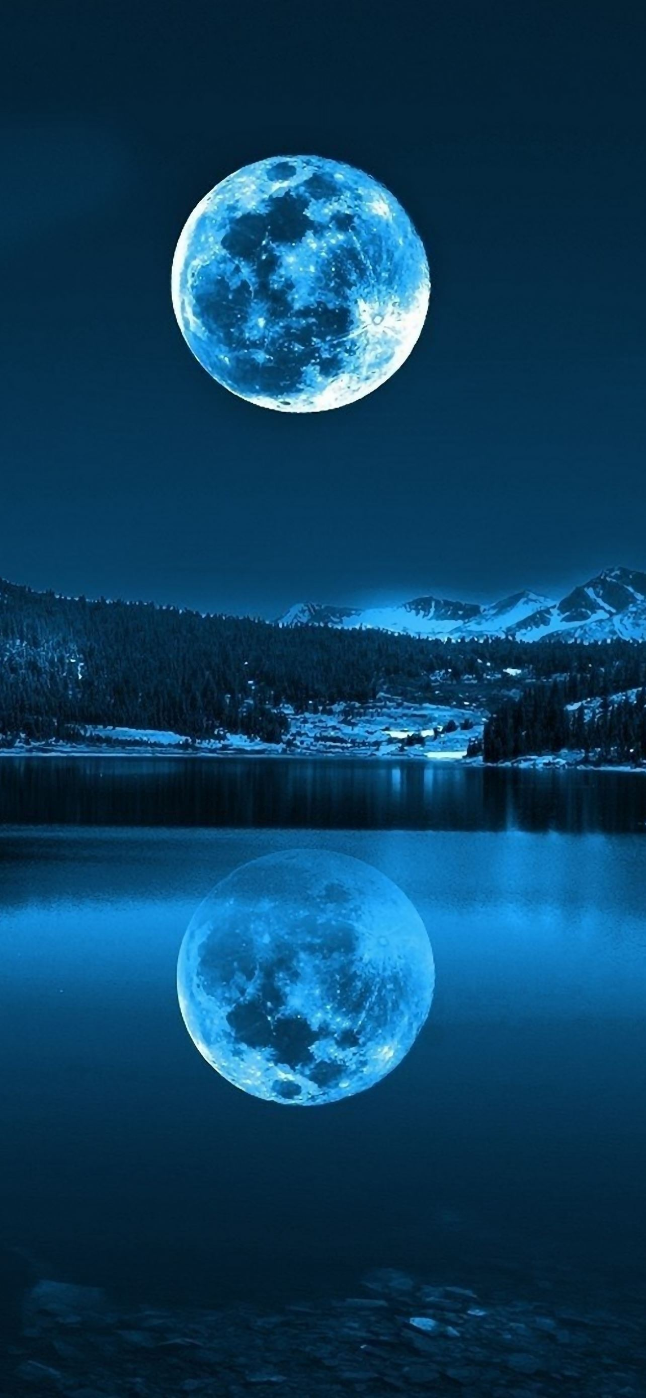 Moon in Cold Lakes iPhone se wallpaper