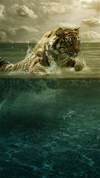 Tiger in Water iPhone se wallpaper
