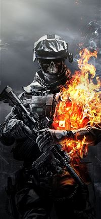 Battlefield 3 Skulls Fire iPhone se wallpaper