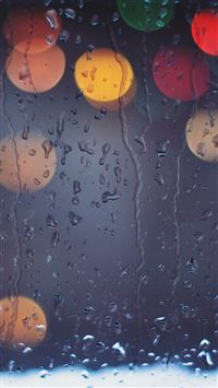Rainy Bokeh Lights iPhone se wallpaper