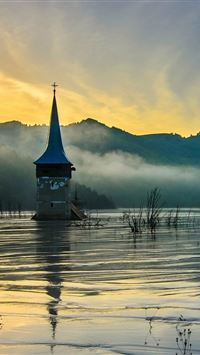 Flooded Church at Dawn iPhone wallpaper