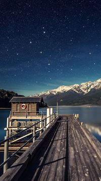 Wooden Lake Pier Nature iPhone wallpaper