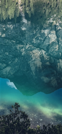 River Reflection Mountain Green Nature Wild Summer iPhone X wallpaper