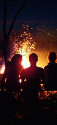 Beach Bonfire Night Camp iPhone X wallpaper