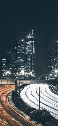 City Car Night View Dark Nature iPhone X wallpaper