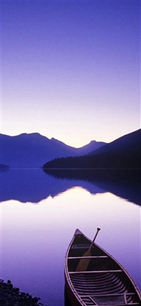 Nature Pure Mountain Reflection Boat River iPhone X wallpaper