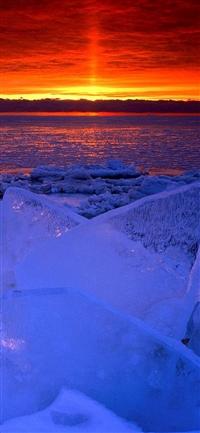 Nature Ocean Sunset Iceberg Glacier Landscape iPhone X wallpaper