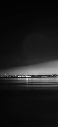 Lake City View Night Dark Nature Awesome Bw iPhone X wallpaper