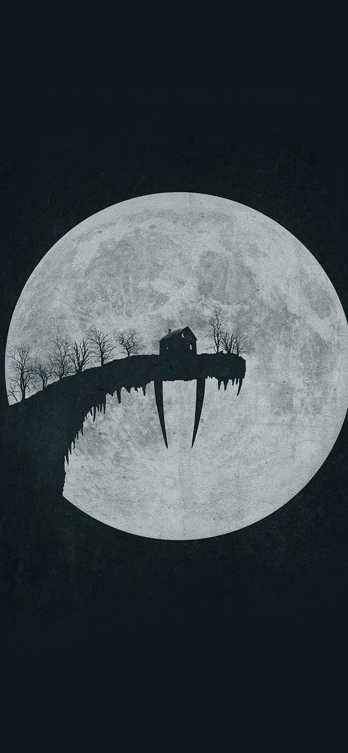Tusk Moon Poster Illustration Art Dark iPhone X wallpaper