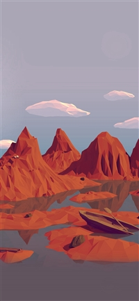 Low Poly Art Mountain Red Illust Art iPhone X wallpaper