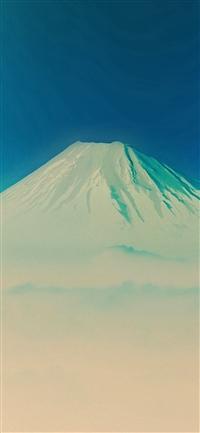 Fuji Blue Mountain Alone iPhone X wallpaper
