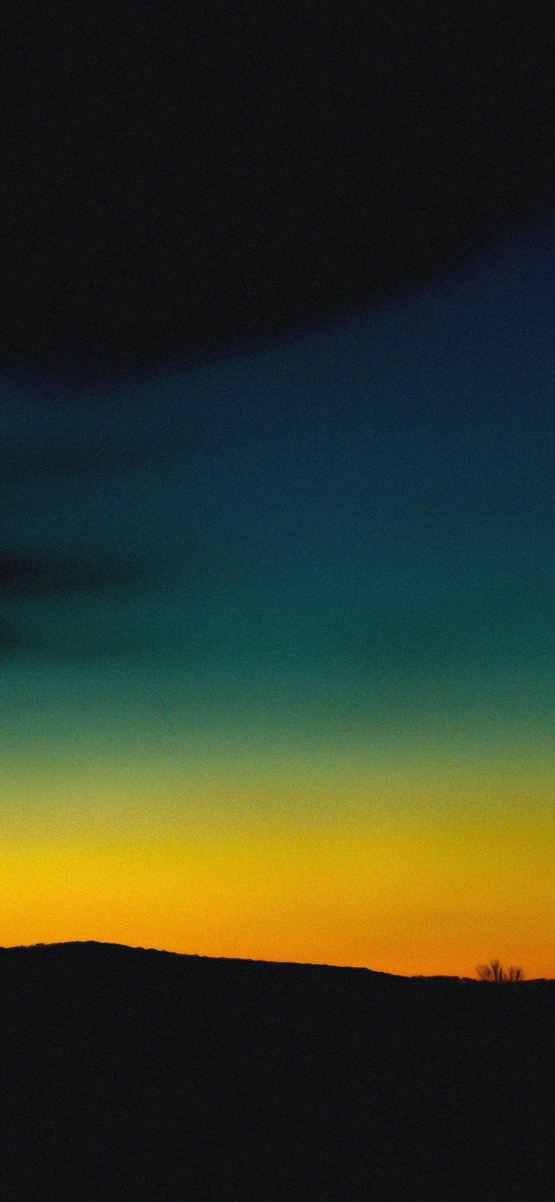 Orange Green Sky Sunset Nature iPhone X wallpaper