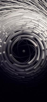 Circle 3D Dark Abstact Illustration Art iPhone X wallpaper