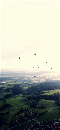Balloon Party Green Blue Wide Mountain Nature iPhone X wallpaper