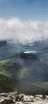 Mountain Green Fog Cloud Nature View iPhone X wallpaper