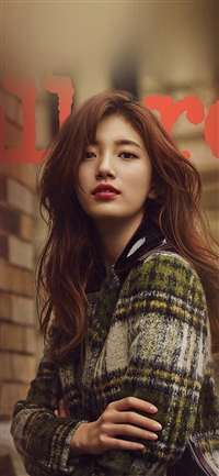 Autumn Kpop Girl Suji Fall Street Fashion Photography iPhone X wallpaper