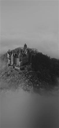 Castle Sky Cloud Dream Fantasy Art Nature Dark Bw iPhone X wallpaper
