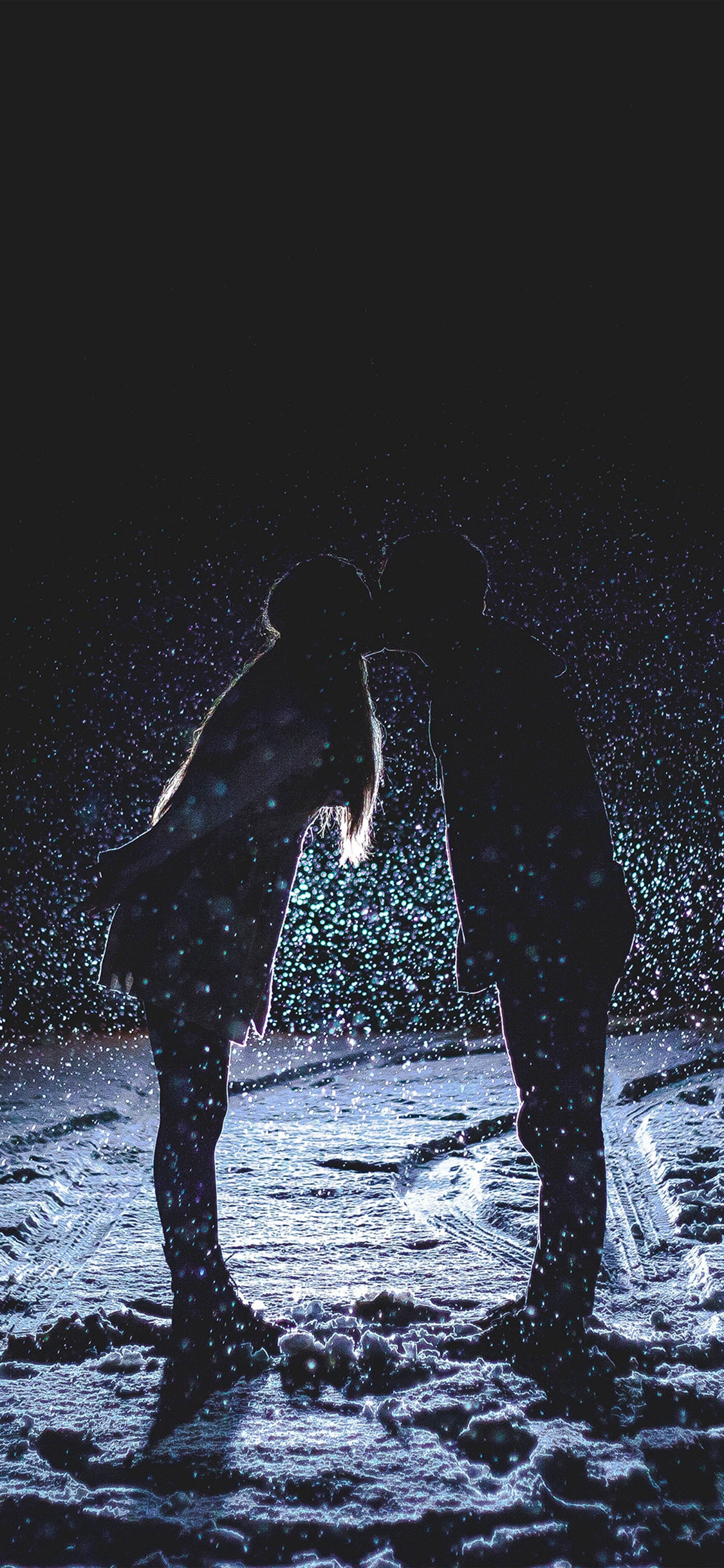 Kiss Love Dark Couple Romantic iPhone X wallpaper