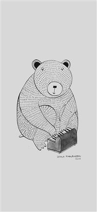 Pianobear Art Illust Cute Animal iPhone X wallpaper
