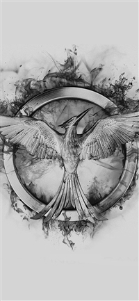 Hunger Games Mockingjay Black Logo Art iPhone X wallpaper