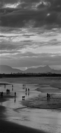 Sea Sunset Beach Dawn Summer Dark Bw iPhone X wallpaper