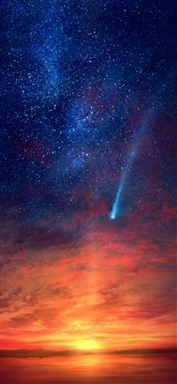 Sunset red illustration iPhone X wallpaper