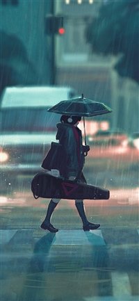 rainy day anime paint girl iPhone X wallpaper