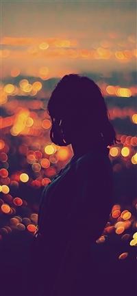 Girl night bokeh iPhone X wallpaper