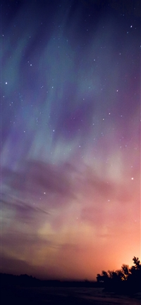 Space aurora night sky iPhone X wallpaper