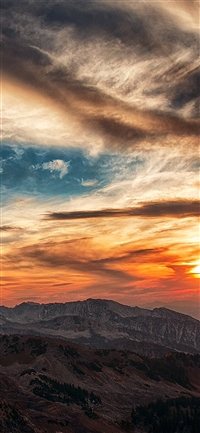 Sunset mountain sky cloud iPhone X wallpaper