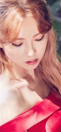 Red dress girl iPhone X wallpaper