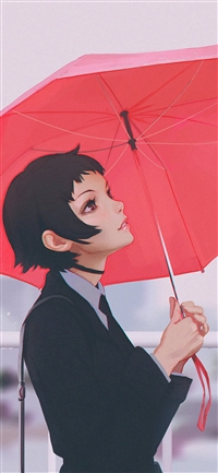 Girl rain umbrella iPhone X wallpaper