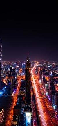 City night light car dark iPhone X wallpaper