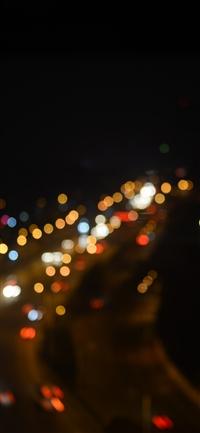 Night bokeh light street iPhone X wallpaper