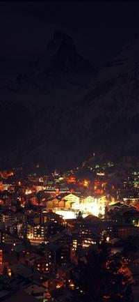 Night city light winter iPhone X wallpaper