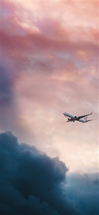 Cloud plane fly sky iPhone X wallpaper