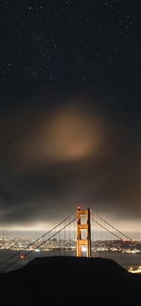 Golden bridge sky star iPhone X wallpaper