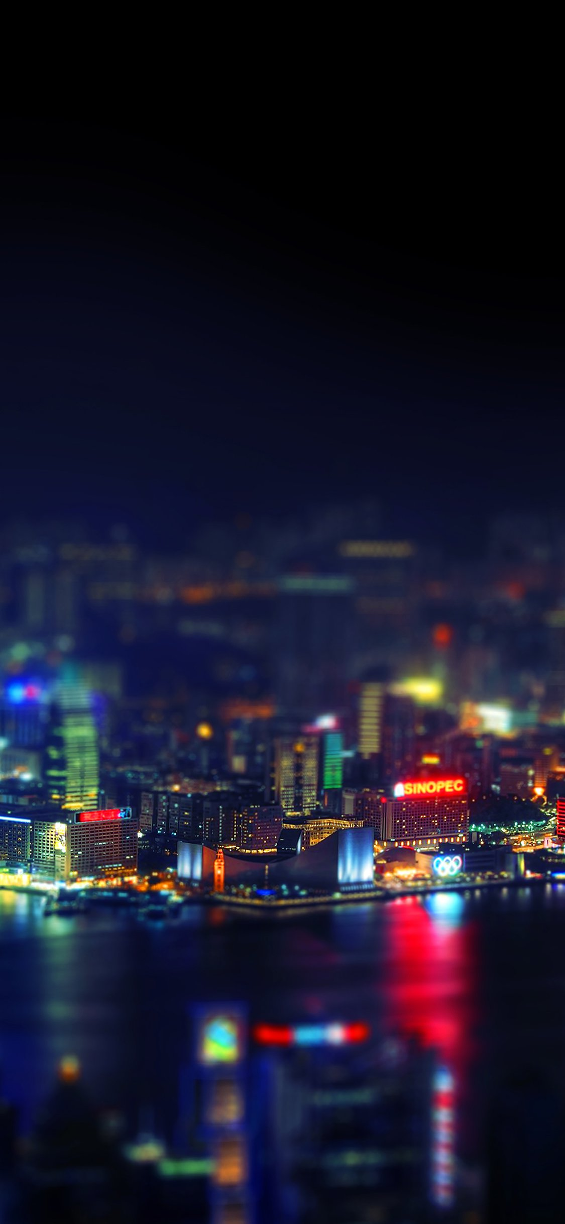 Hongkong city night iPhone X wallpaper