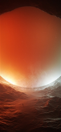 Space red sun art illustration iPhone X wallpaper