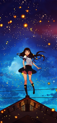 Girl anime star space night iPhone wallpaper