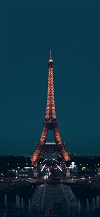 City blue Eiffel tower iPhone X wallpaper