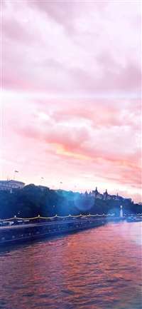 River blue flare sky iPhone X wallpaper