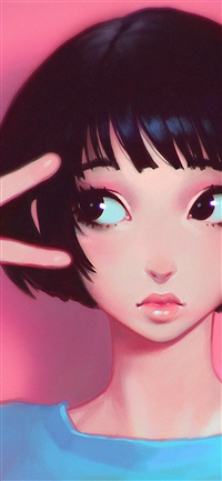 Pink girl illustration art iPhone wallpaper