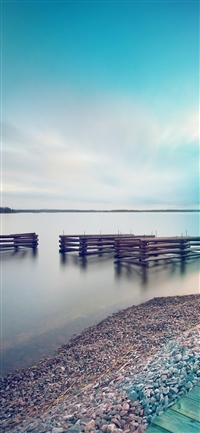 Lake calm beautiful sea water blue flare iPhone X wallpaper
