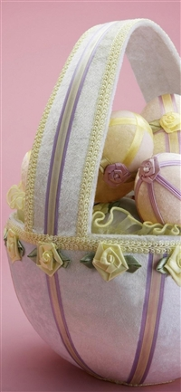 Easter holiday basket eggs flowers beauty background iPhone wallpaper