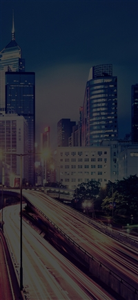 HongKong at night drive city dark iPhone X wallpaper
