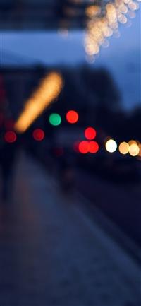 Bokeh street lights city art iPhone X wallpaper