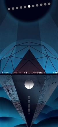 Venus dark blue art illustration space iPhone X wallpaper